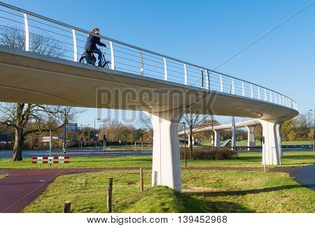 bicyclist using the elevated bike path over the highway