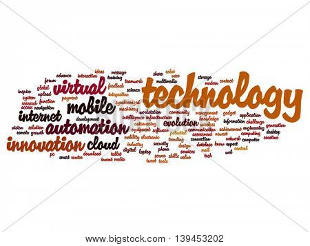 Vector concept or conceptual digital smart technology, media word cloud isolated on background