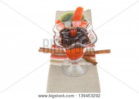 served ice cream with fruits over white