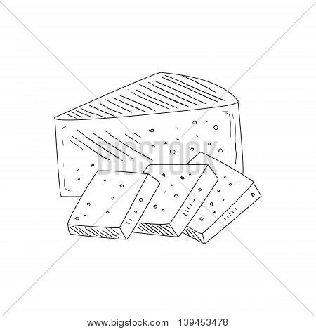 Triangle Piece Of Cheese And Wide Slices Hand Drawn Realistic Detailed Sketch In Classy Simple Pencil Style On White Background