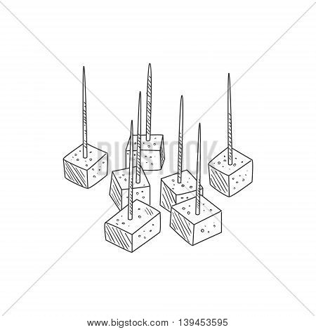 Small Pieces Of Cheese On Toothpicks Hand Drawn Realistic Detailed Sketch In Classy Simple Pencil Style On White Background