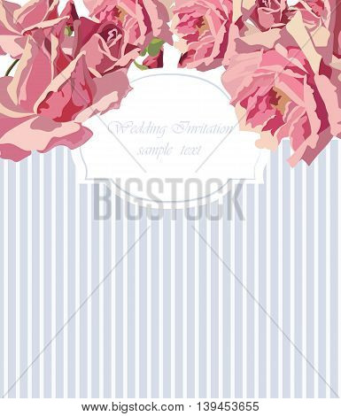 Watercolor Delicate Roses card. Vector rose flower card illustration for wedding invitation ceremony anniversary card label