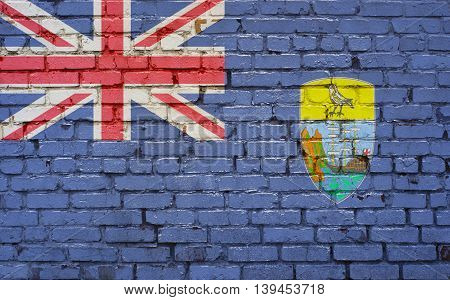 flag of Saint Helena painted on brick wall