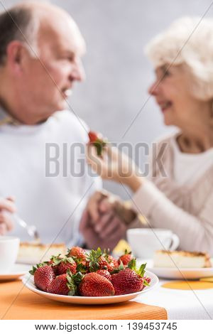 Strawbberries For Dessert For Couple In Love