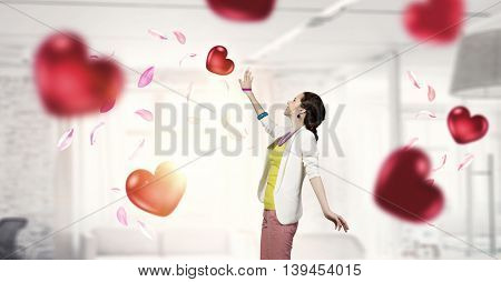 She is romantic girl .  Mixed media