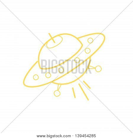 Flying Saucer Simple Contour Drawing. Linear Bright Color Childish Vector Icon On White Background