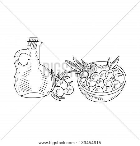 Olives And Jug Of Olive Oil Hand Drawn Realistic Detailed Sketch In Classy Simple Pencil Style On White Background