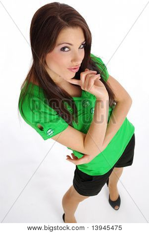 Beautiful girl in green t-shirt