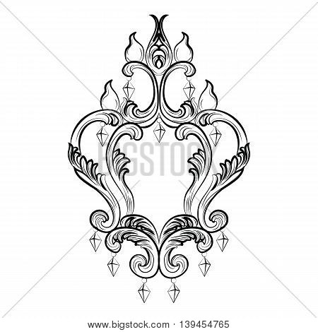 Rich Baroque Classic chandelier on white background. Luxury decor accessory design. Vector illustration sketch