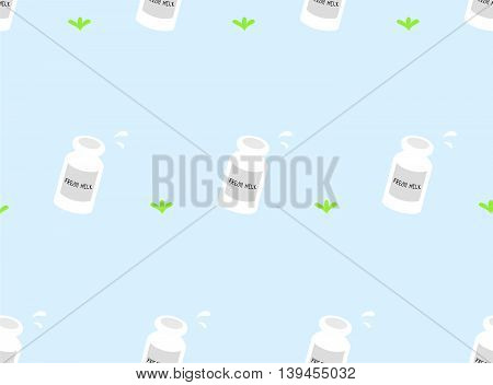 Bottles of fresh milk and grass seamless pattern.