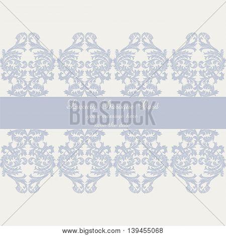 Vector Baroque Vintage Damask card. Luxury Classic Invitation card Royal Victorian Luxury Card