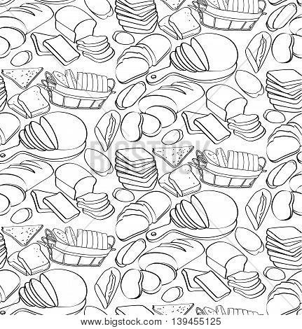 Pattern of fresh beautiful and tasty organic bakery products, bagels, bagguets, buns, bread, croissant. Seamless vertical vector illustration. Black outline on white background.