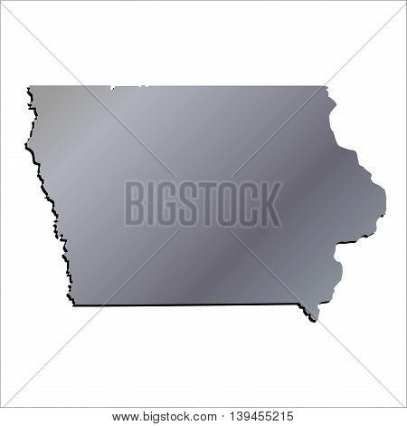 3D Iowa (USA) Aluminium outline map with shadow