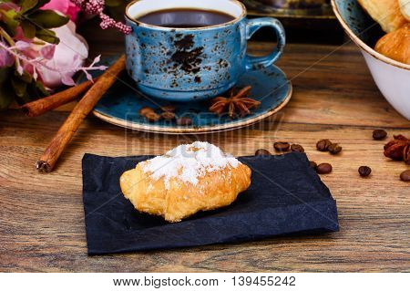 Delicious Crispy French Croissants with Coffee Studio Photo
