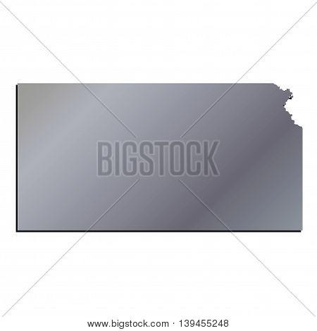 3D Kansas State USA Aluminium outline map