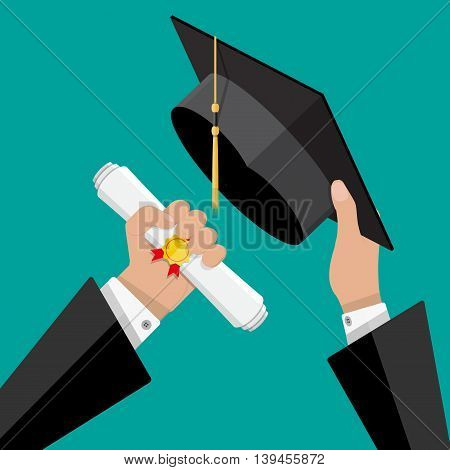 Concept of education. Graduation hat and diploma with stamp and ribbon in hands of student. vector illustration in flat style on green background