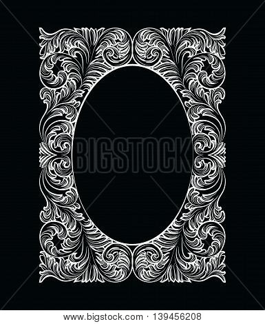 Vintage Imperial Baroque Rococo frame. Vector French Luxury rich carved ornamented Wall Frame. Victorian wealthy Style structure
