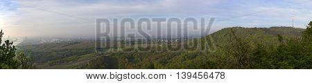 scenic panorama of vienna with the suburbs and view to vineyards of Grinzing Vienna