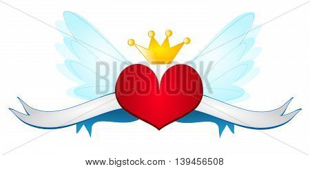 Red heart with wings ribbons and crown