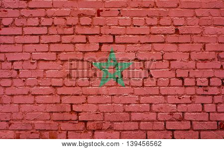 Flag of Morocco painted on brick wall background texture