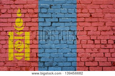 Flag of Mongolia painted on brick wall background texture