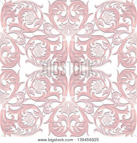 Vintage Vector Baroque Luxury ornament pattern. Damask Victorian Rich Rococo pattern. Elegant Luxury texture for textile tile and page fill. Rose quartz color pattern
