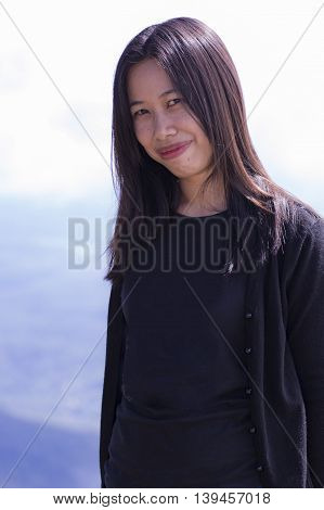 thai woman portrait with mountain , relax