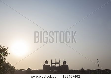 scene of sun in morning of Red Fort at old delhi Delhi India