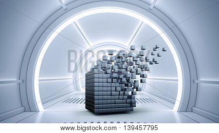 Futuristic technologies concept .  Mixed media