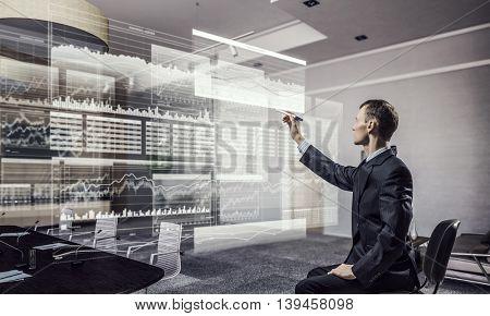 Businessman draw progress concept  .  Mixed media
