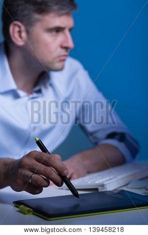 Focused On His Task