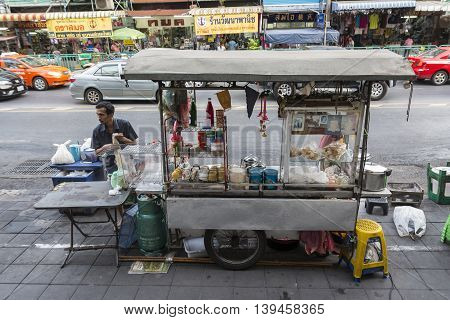 BANGKOK THAILAND - MAY 15 : bread custard and hot drink stall on sidewark at soi udomsuk sukhumvit 103 road on may 15 2016 thailand.