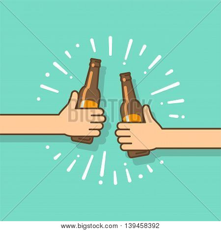 Beer party. Two hands holding the beer bottles. Vector illustration in flat style.