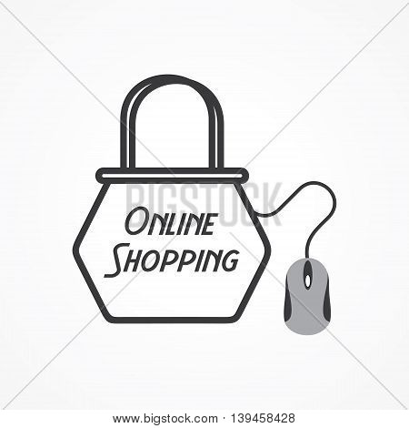 Online shopping Concept with shopping bag and mouse stock vector