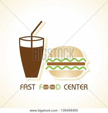 Fast food center with colddrink and burger stock vector