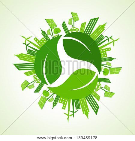 Eco city concept with recycle icon of leaf stock vector