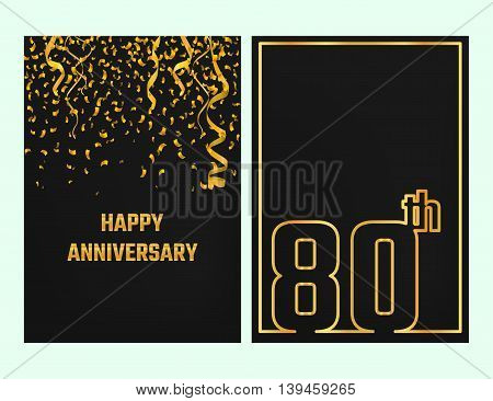 Vector Illustration of Anniversary 80th Outline for Design, Website, Background, Banner. Jubilee silhouette Element Template for festive greeting card. Shiny gold Confetti celebration