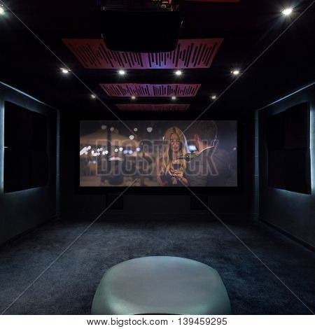 Horizontal view of private cinema at home
