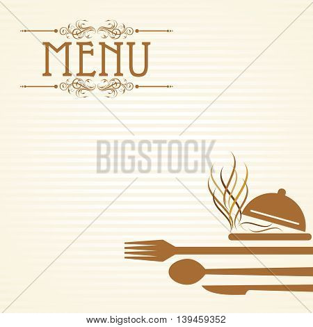 Illustration of template for menu card with cutlery