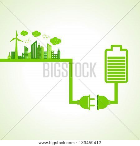 Eco city concept with battery stock vector