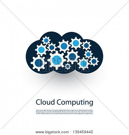 Cloud Computing and Networks Concept, Technology Company Logo Design with Gears Inside