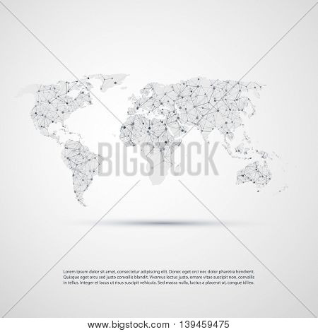 Abstract Cloud Computing and Network Connections Concept Design with World Map - Illustration in Editable Vector Format