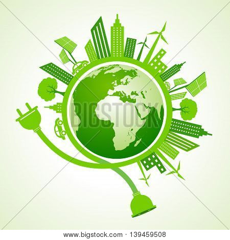 Eco city concept with earth stock vector