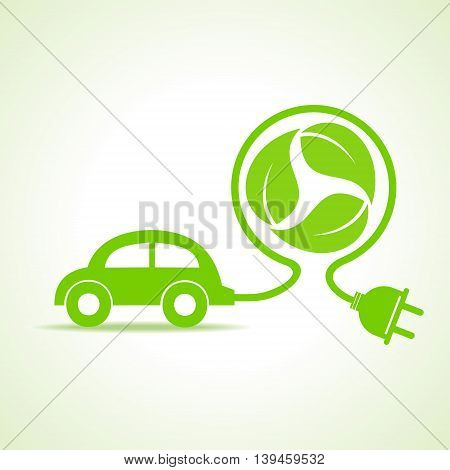 Eco car concept with recycle icon of leaf stock vector