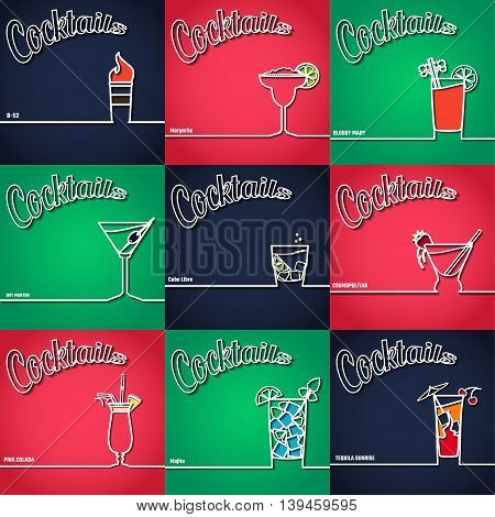 Vector Illustration of Cocktail Icon Outline for Design, Website, Background, Banner. Bar Element for Menu or Infographic Template. B-52, bloody Mary,  Pina colada, marini, margarita