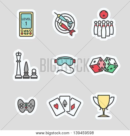 Colorful game stickers collection. Line icons vector set