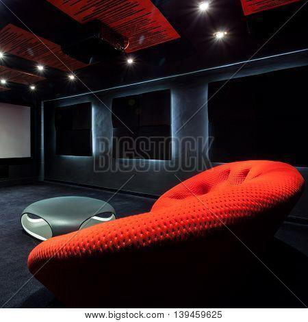 Comfortable Red Sofa In Interior