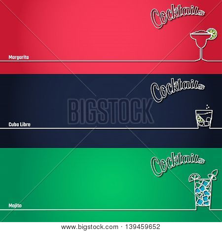 Vector Illustration of Cocktail Icon Outline for Design, Website, Background, Banner. Bar Element for Menu or Infographic Template. Margarita, Cuba Libre, Mojito