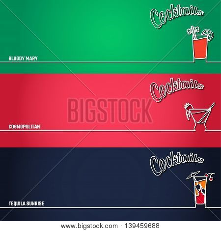 Vector Illustration of Cocktail Icon Outline for Design, Website, Background, Banner. Bar Element for Menu or Infographic Template. Bloody Mary, Cosmopolitan, Tequila Sunrise