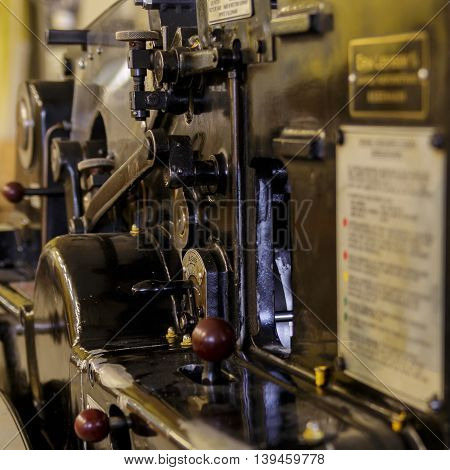 Controls of old press machine - still in business.